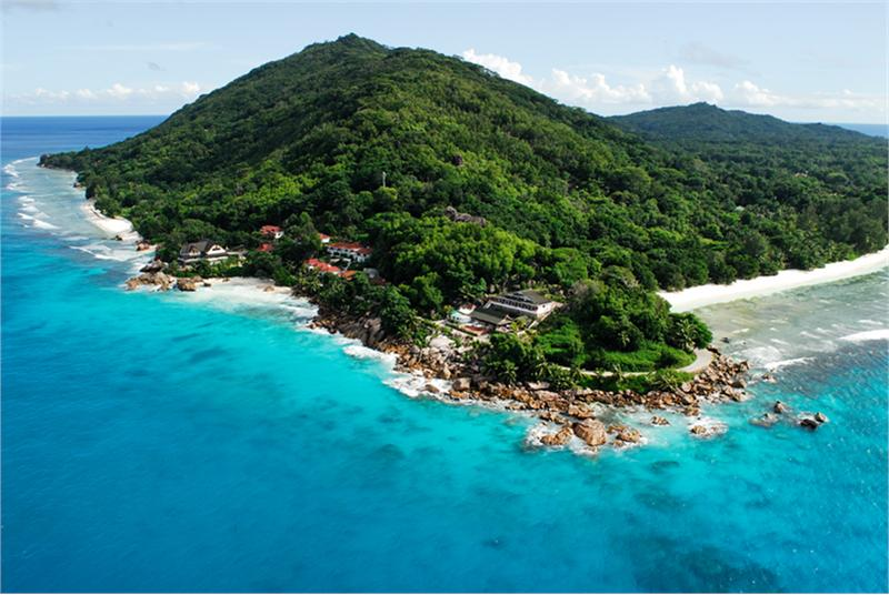 Aerial view of Curieuse Island Seychelles